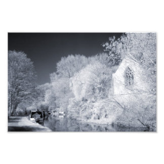 Infrared Canal & Church Scene Photographic Print