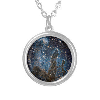 Infrared Eagle Nebula Pillars of Creation Silver Plated Necklace