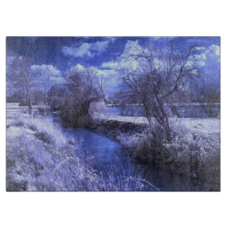 Infrared landscape with stream in blue boards