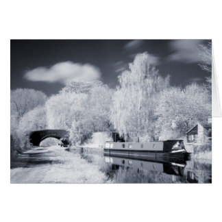 Infrared Narrowboat Moored on Oxford Canal Card
