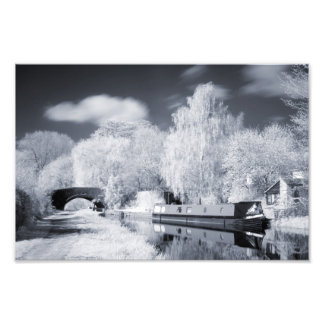 Infrared Narrowboat Moored on Oxford Canal Print