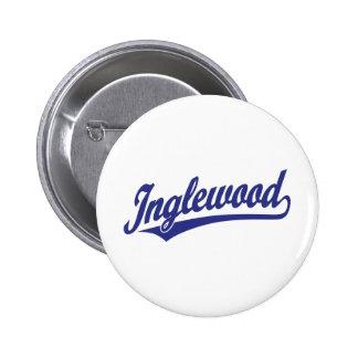 Inglewood script logo in blue 2 inch round button