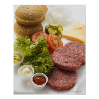 Ingredients for cheeseburgers poster