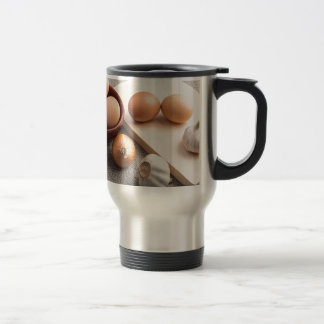 Ingredients for cooking in retro style travel mug