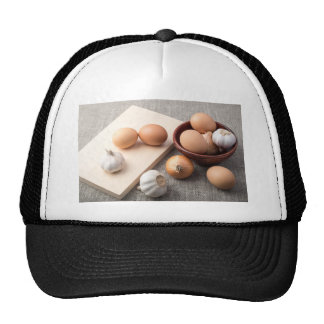 Ingredients for cooking in retro style trucker hat