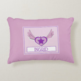 Ingrid Cute Girly Heart and Wings Accent Pillow