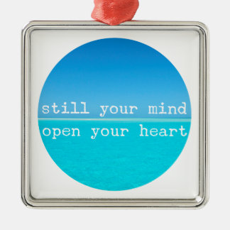 Inhale Exhale Relaxing Meditational Quote Silver-Colored Square Ornament