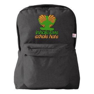 Inhale love exhale hate meditation backpack