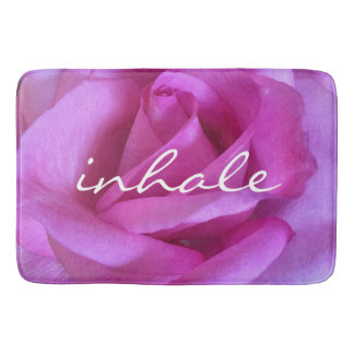"""Inhale"" purple pink rose close-up photo bath mat"