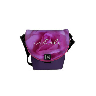 """""""Inhale"""" Quote Giant Purple Pink Rose Photo Mini Courier Bag"""