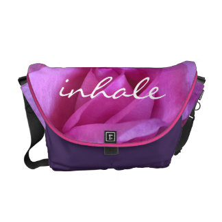 """Inhale"" Quote Hot Purple Pink Rose Close-up Photo Messenger Bag"