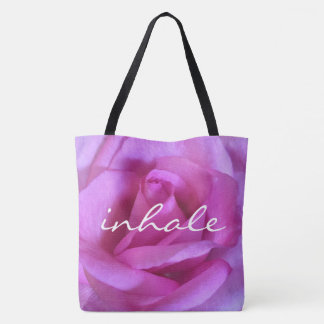 """""""Inhale"""" quote purple pink rose close-up photo Tote Bag"""