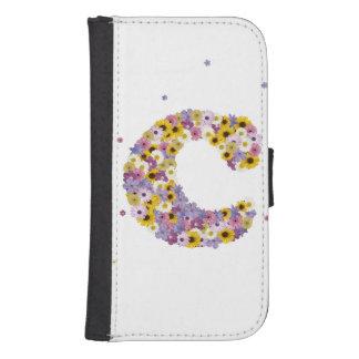 Inital letter C in flowers Samsung S4 Wallet Case