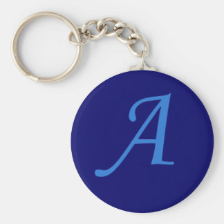 Initial A Basic Round Button Keychain