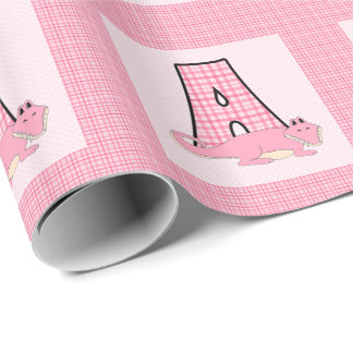 Initial 'A' for Girls with Alligator Pink Gingham Wrapping Paper