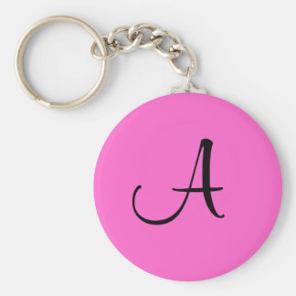 "Initial ""A"" Key Ring Basic Round Button Keychain"