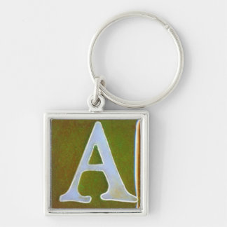 initial A keychain, opalescent white and green Keychain