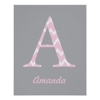 """Initial """"A"""" Personalized Chevron Pink Baby Name Poster"""