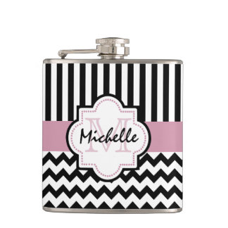 Initial and name monogram hip flask