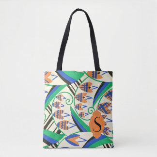 Initial Art Deco Blue Green Orange Gray Tote Bag