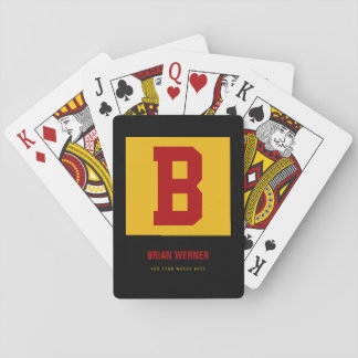 initial B, name + text, personal color yellow Playing Cards