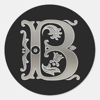 Initial B Round Sticker in  Silver