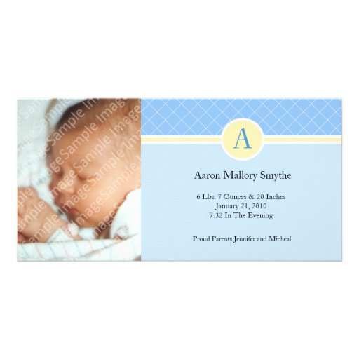 Initial Blue Yellow Boy New Baby Birth Photo Cards