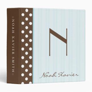 Initial Brown Polkadots/Blue Stripes Vinyl Binder