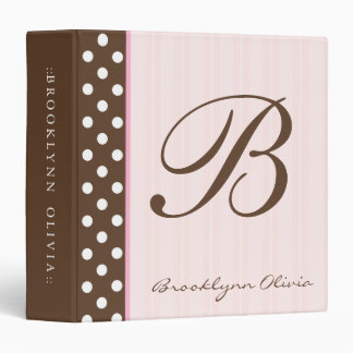 Initial Brown Polkadots/Pink Stripes 3 Ring Binders