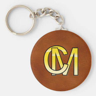 initial C and M out of gold Basic Round Button Keychain