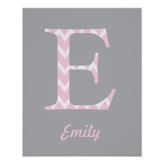 """Initial """"E"""" Personalized Chevron Pink Name Poster"""