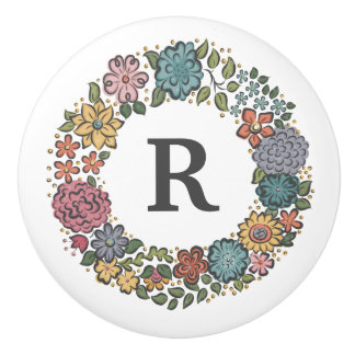 Initial Flower Wreath ceramic knob