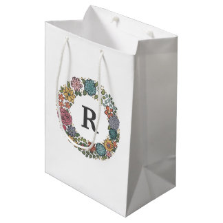 Initial Flower Wreath gift bag