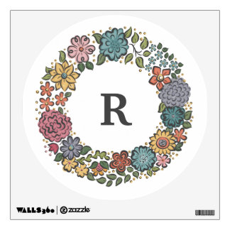 Initial Flower Wreath wall decal