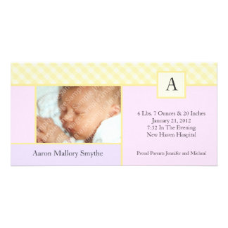 Initial Gingham Patchwork Girl Baby Photo Cards