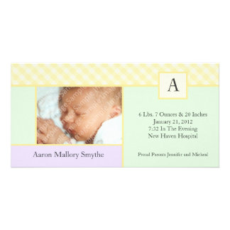Initial Gingham Patchwork New Baby Photo Cards