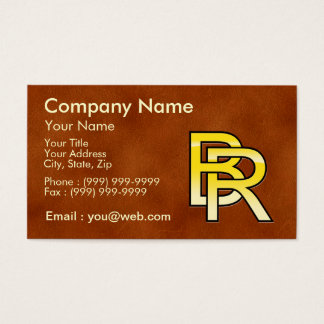 initial gold B and R on leather bottom Business Card
