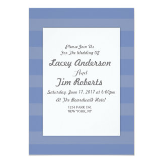 Initial Grey and blue Stripe  Wedding Invitation