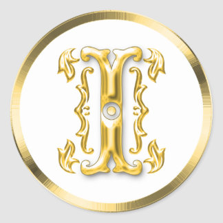 Initial I Round Sticker in Gold