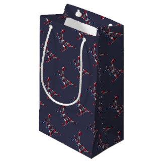 Initial K Monogrammed American Flag Color Elegant Small Gift Bag