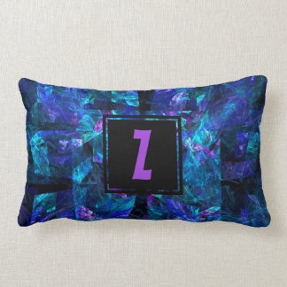 Initial Letter Monogram Over Lustrous Blue Shades Lumbar Pillow