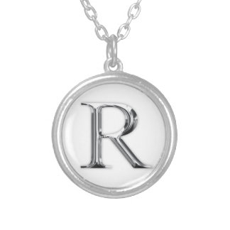 Initial Letter Round Pendant Necklace