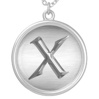 """Initial Letter """"X"""" Silver Necklace"""