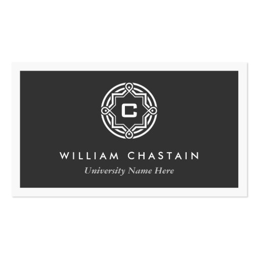INITIAL LOGO for STUDENTS/UNIVERSITY (Black) Business Card Templates