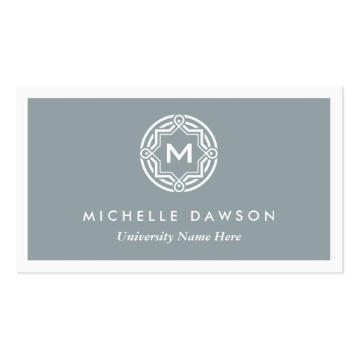 INITIAL LOGO for STUDENTS/UNIVERSITY (Gray) Business Card Template