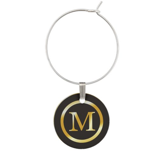 Initial M Gold Monogram Wine Glass Charms