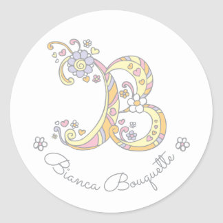 Initial monogram B custom name id name stickers