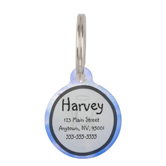 Initial Monogram C With Angel Wings, Halo Clouds Pet Tag