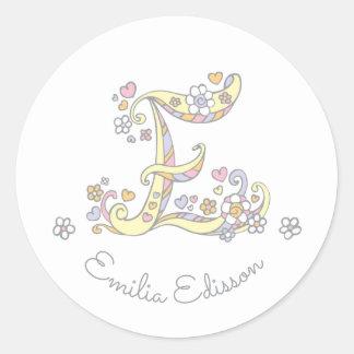 Initial monogram E custom name id name stickers