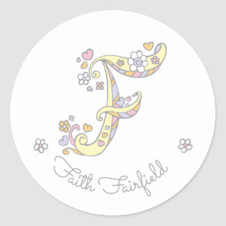 Initial monogram F custom name id name stickers